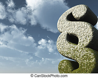 law - paragraph symbol rock in front of blue sky - 3d...