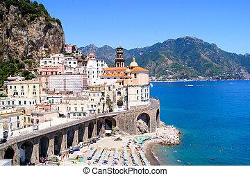 Beautiful Amalfi Coast - View of the village of Atrani on...