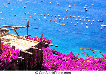 Flower draped terrace in Positano on the Amalfi Coast of...