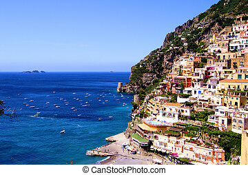 Positano, Amalfi Coast - View towards the coastal town of...