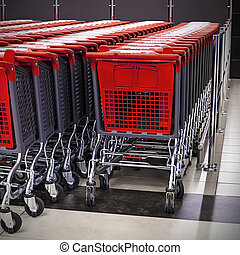 rows of shopping carts in the store