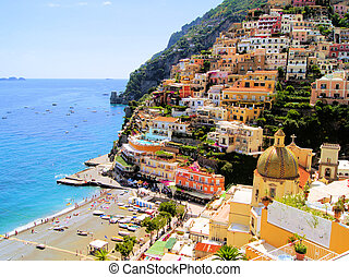 Positano, Italy - View of the town of Positano, Amalfi...