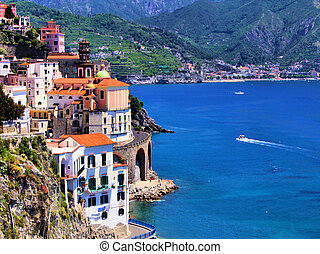 Scenic Amalfi Coast - Beautiful village of Atrani along the...