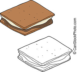 Smores Cartoon - Hand drawn smore snack over isolated...