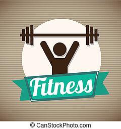Fitness design over beige background, vector illustration