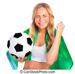 Excited Brazilian team fan - Portrait of happy excited...