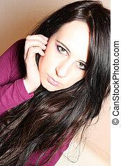 cabelo, menina, pretas