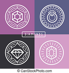 Vector jewelry signs and emblems in outline style - Vector...