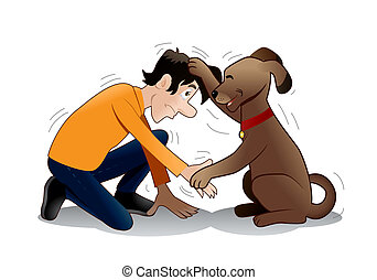 dog training? - illustration of a Brown Dog do hand shake...