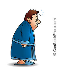 sleepy man walk - illustration of a man wear pajamas walking...