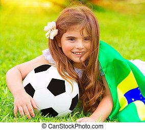 Cute little football fan - Closeup portrait of cute little...