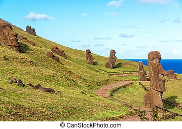 Easter Island Moai at Rano Raraku - Various Moai visible on...