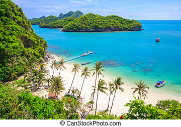 Bird eye view of Angthong national marine park, koh Samui,...