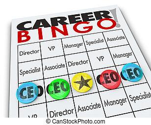 carrera, bingo, pedacitos, CEO, jefe, ejecutivo, oficial,...