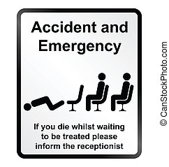 Accident and Emergency Information - Monochrome comical...