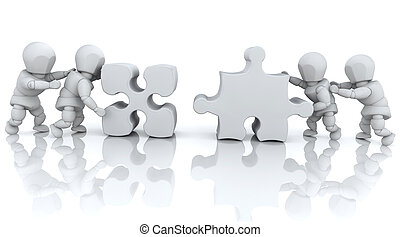 Solving jigsaw puzzle - 3D render of men solving jigsaw...