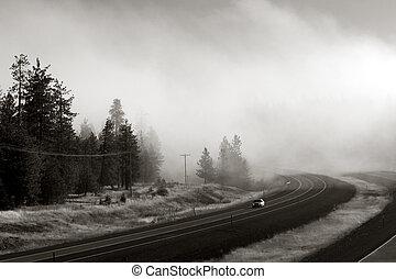 Interstate in fog
