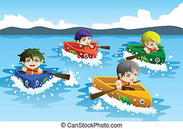 Kids in a boat race