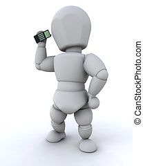 man talking on cell phone - 3d render of a man talking on a...