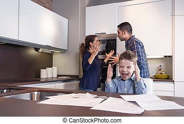 激怒している, 叫ぶこと, 口論, 親, 子供