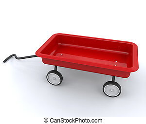 toy red wagon - 3d render of a childs toy red wagon