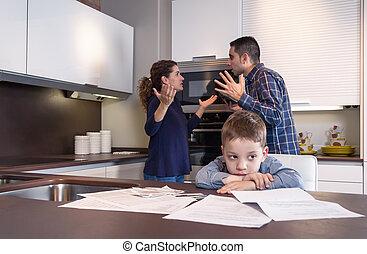 Sad child suffering and parents having discussion - Sad...