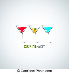 cocktail party glass menu background 8 eps