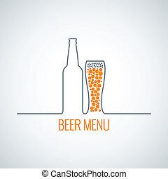 beer bottle glass menu background