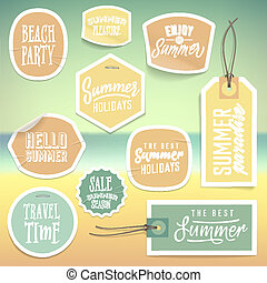 Summer holiday vacation stickers and labels design Vector...