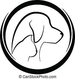 Dog and cat silhouettes logo - Dog and cat stylized...