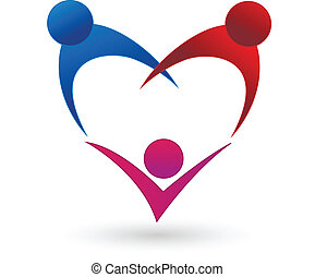 Family heart shape connection logo vector icon
