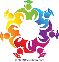 Teamwork colorful graduates logo - Teamwork colorful...