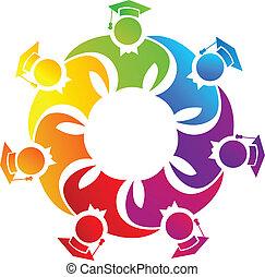 trabajo en equipo, colorido, graduados, logotipo