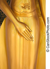 Closed up hand of buddha in temple of Thailand