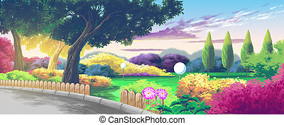 Nice Park Cartoon Landscape