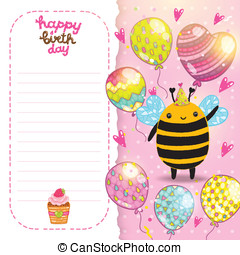 Happy Birthday card background with a bee.