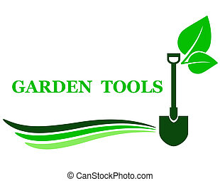 garden tool background with shovel and green leaf