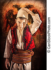 Child in traditional costume - Child in Albanian traditional...