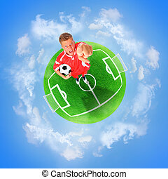 Football green planet - Football player in the red form on...