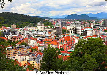 Ljubljana - landscape of Ljubljana city in Slovenia viewed...