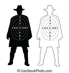 Cowboy gun target on white background