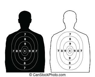 Human gun target on white