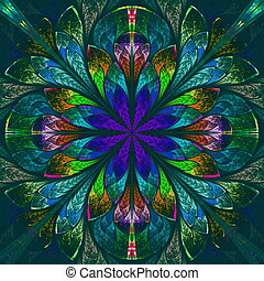 Multicolor beautiful fractal in stained glass window style...