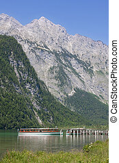 Tourboat in Konigssee in Berchtesgadener, Bavaria, Germany