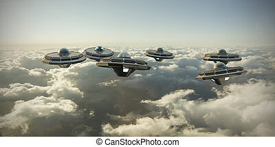 ufo in formation flying over the clouds