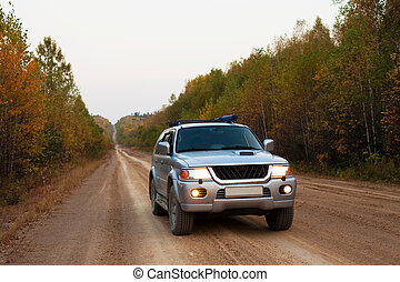 Car on the road - 4x4 car stopped its run to make a photo in...