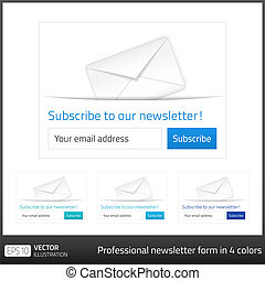 Light Subscribe to newsletter form with white background and...