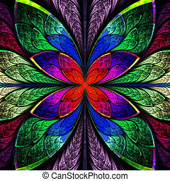 Symmetrical multicolor fractal flower in stained glass style...