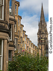 Side view of vintage facades in Edinburgh - Vintage facades...