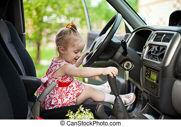 Little girl in the car - Little girl sitting in the car